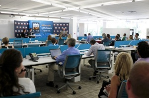 Seated near center are Peter Ross of WZZM and Tom Urich at the M-Live Media Center